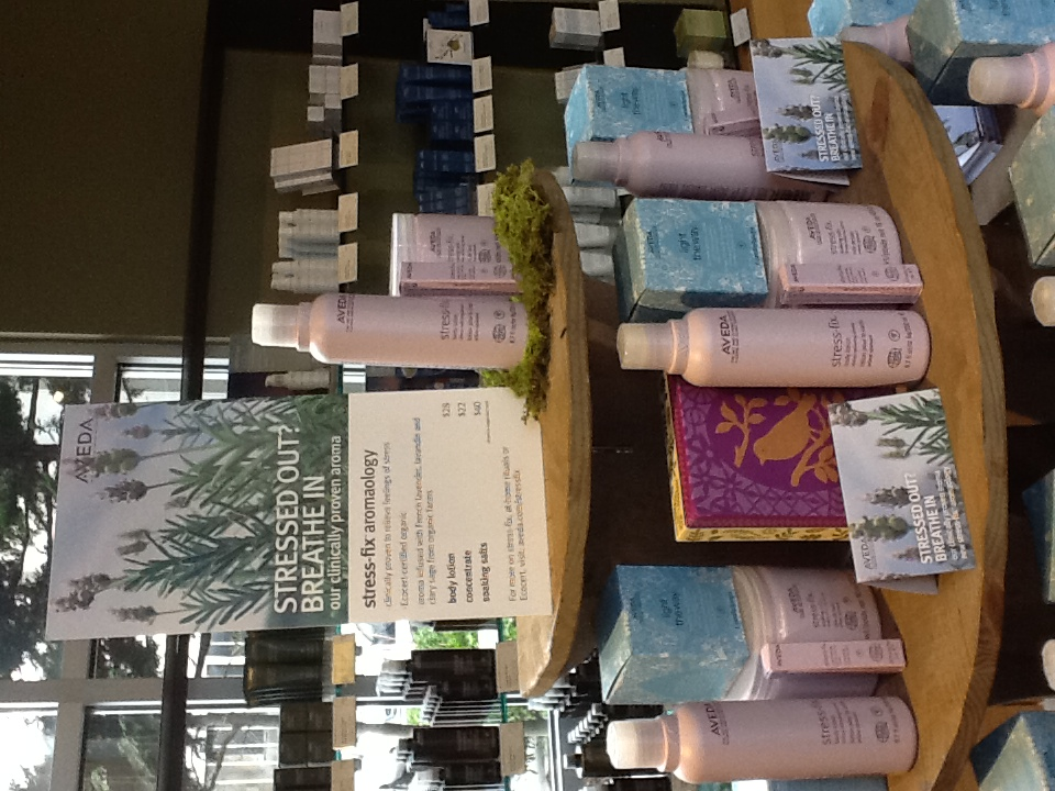 This month we are unveiling Aveda's newest product line, Stress-Fix